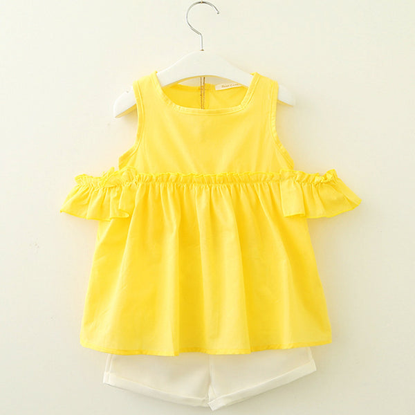 New Spring / Summer Fashion! Girls Multi-layer Frill Sleeveless Baby Shirt + Vintage Flower Set