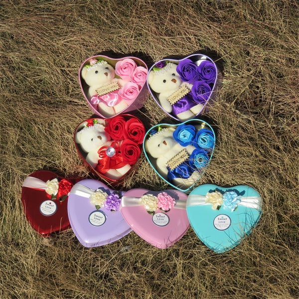 Heart-Shaped Rose Soap Flower with Plush Animal toys Teddy Bear Doll