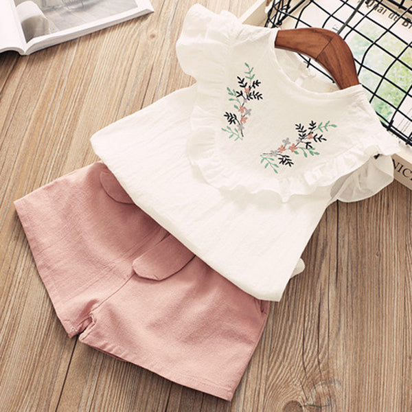 New! Girls 2Pcs Summer Sleeveless T-shirt+Print Bow Pants