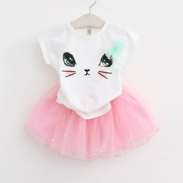 New Summer Fashion Style Cartoon Rabbit  Printed T-Shirts+Pink Dress 2Pcs Girls Clothes Sets