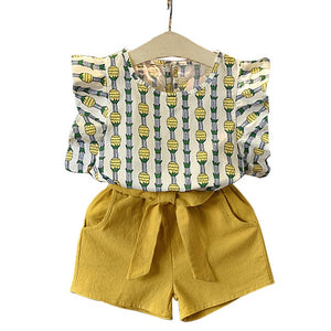 Summer New Girl Cute Short Sleeve T-shirt + Shorts Two Piece Set