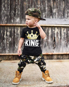 2 piece Kid Short sleeve King T shirt Top and Camouflage Pants