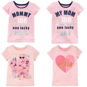 Cute Pink Baby Girl T-Shirts Mommy Daddy Heart Outfits