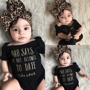 "Fashion baby clothes ""Not allowed to date"" Outfit set"