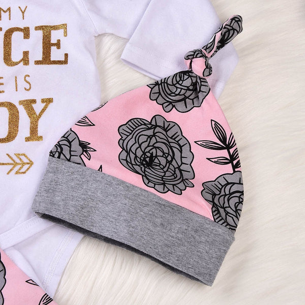 Elegant 4pc Floral Baby / Infant Jumpsuit- Daddy is my Prince
