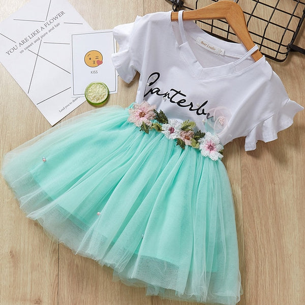 Spring/Summer Style Girls Butterfly Sleeve Striped T-shirt+Bow Short Skirt 2Pcs Girls Suits
