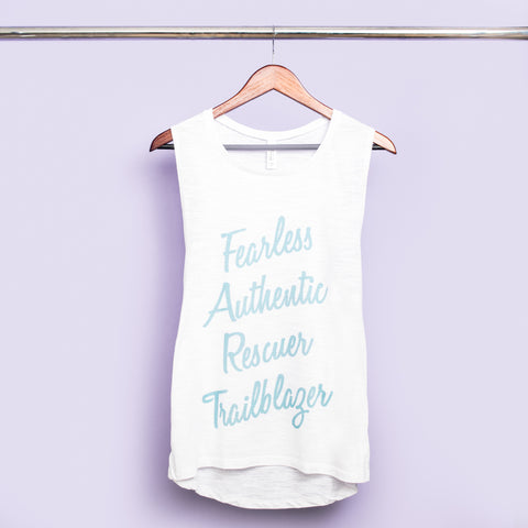 F.A.R.T. Acronym White Graphic Muscle Tank