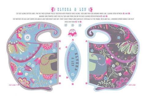 Elvera & Len Tea Towel / Cloth Kit - A silkscreen design by Sarah Young