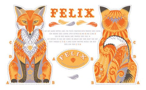 Felix the Fox Tea Towel / Cloth Kit - A silkscreen design by Sarah Young