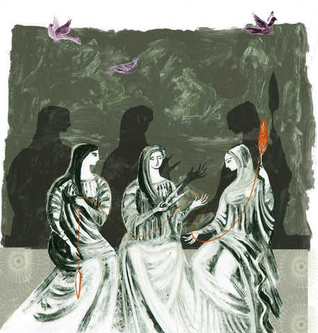 The Three Moirai - Print of an illustration by Sarah Young