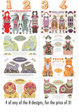 4 Tea Towel / Dish Towel / Cloth Kit Designs for the price of 3