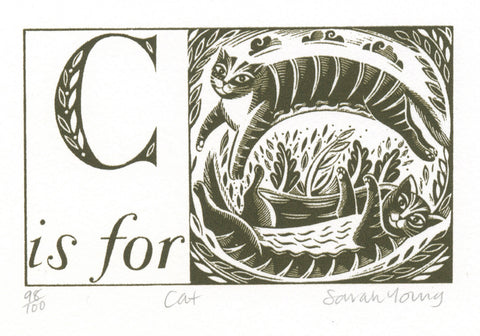 SOLD OUT - C is for Cat - Alphabet Silkscreen Print