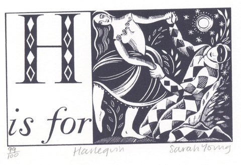 H is for Harlequin - Alphabet Silkscreen Print
