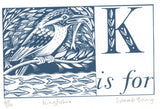 K is for Kingfisher - Alphabet Silkscreen Print