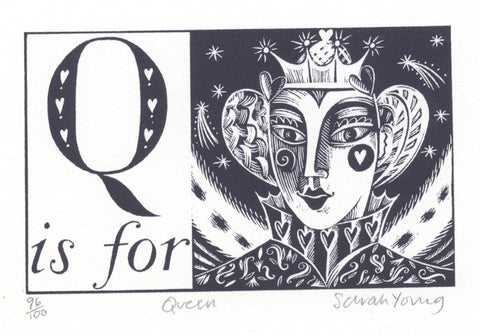 Q is for Queen- Alphabet Silkscreen Print