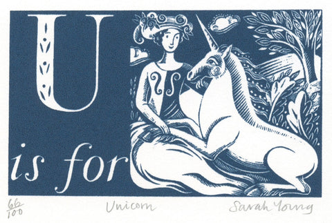 U is for Unicorn - Alphabet Silkscreen Print