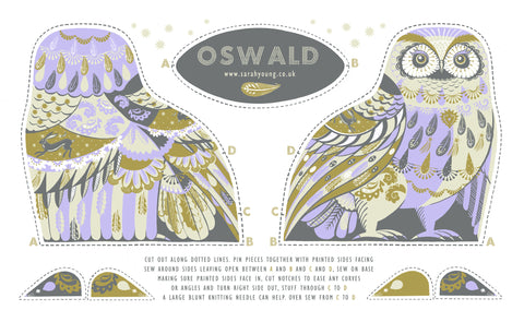Oswald the Owl Tea Towel / Cloth Kit - A silkscreen design by Sarah Young