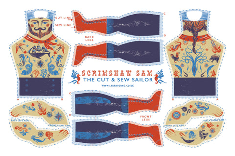 Scrimshaw Sam Tea Towel / Cloth Kit - A silkscreen design by Sarah Young