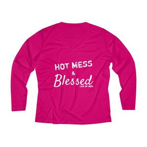 Hot Mess & Blessed Long Sleeve Performance V-neck Tee