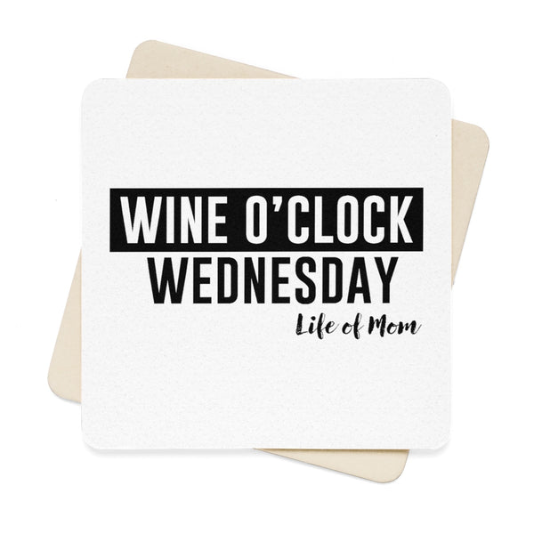 Wine O'clock Wednesday Square Paper Coaster Set (6pcs)