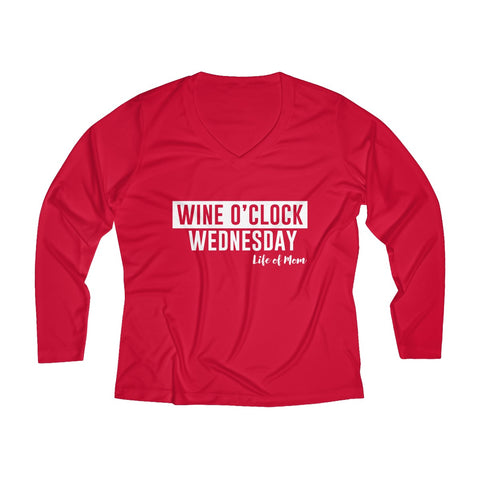Wine O'clock Wednesday Long Sleeve Performance V-neck Tee