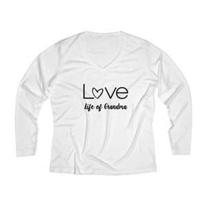 Life of Grandma Love Long Sleeve Performance V-neck Tee