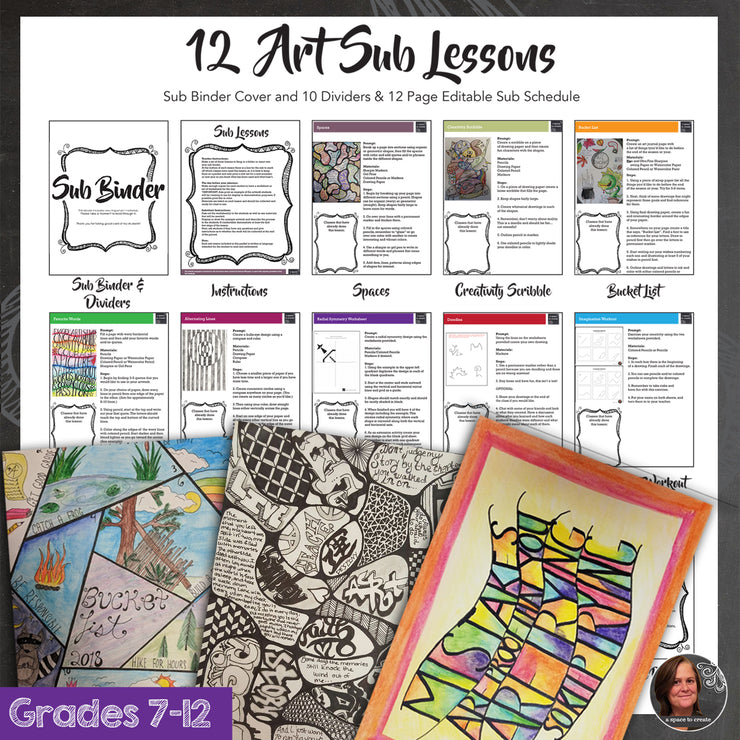 12 Art Sub Lessons with Editable Binder