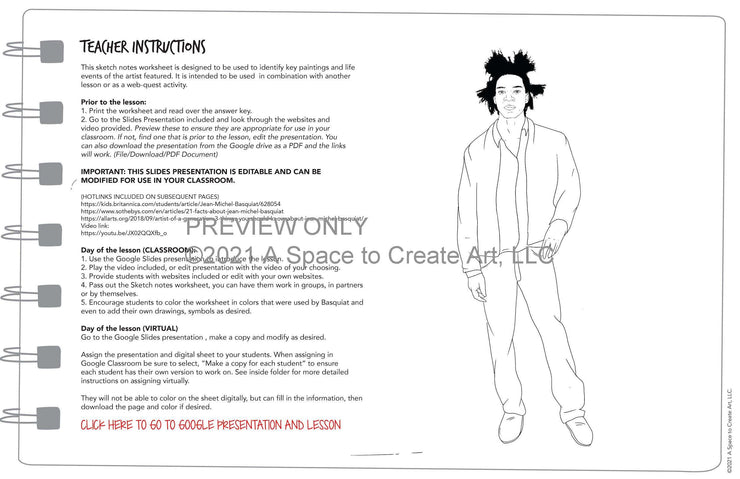 Jean-Michel Basquiat Sketch Worksheet - Webquest Biography Activity