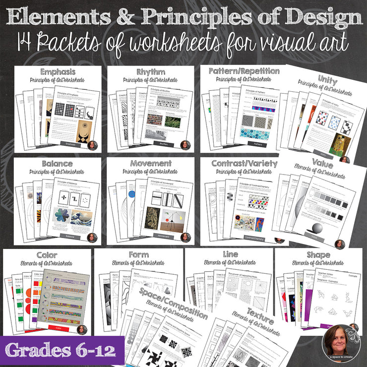 Elements and Principles of Art Worksheet Bundle - Workbook - 110+ handouts