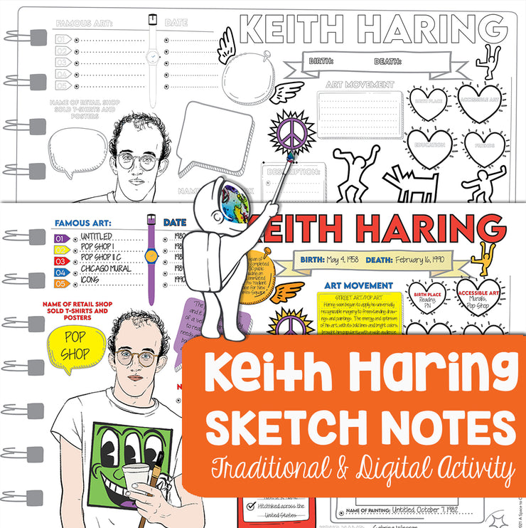Keith Haring Sketch Notes for Visual Art Worksheet - Art Webquest Activity