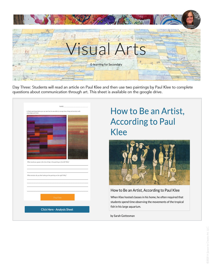 Visual Art Distance Learning Online - Paul Klee - One Week Unit