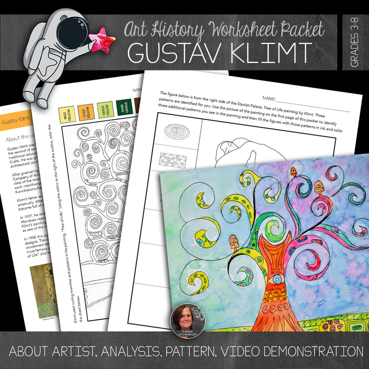 Gustav Klimt's Tree of Life Workbook with Video Demonstration