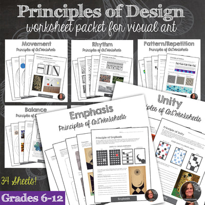 Principles of Design Worksheets & Mini-Lessons Bundle