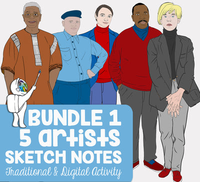 5 Famous Artists Biography Sketch Notes Activity and Web Quests Bundle