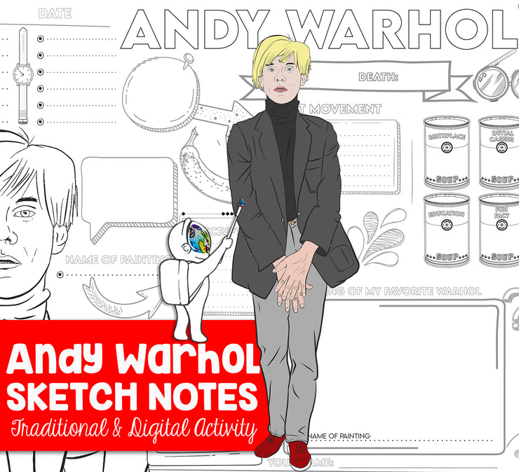 Andy Warhol Sketch Notes for Visual Art Worksheet - Art Webquest Activity