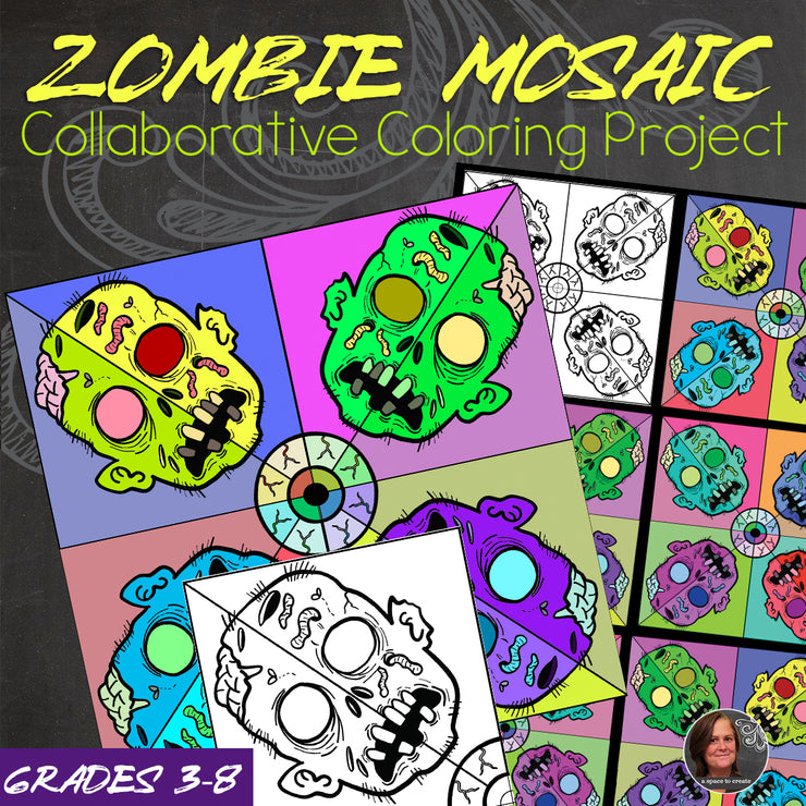 Zombie Collaborative Coloring Mosaic