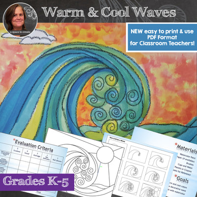 Warm and Cool Waves Art Lesson