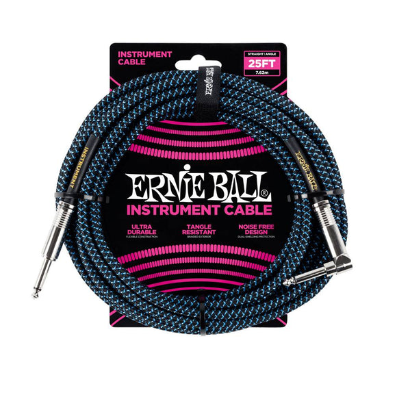 Ernie Ball black blue braided cable 7m