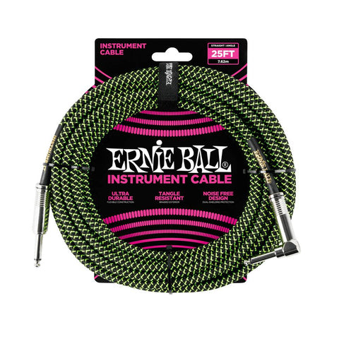 Ernie Ball black green braided cable 7m