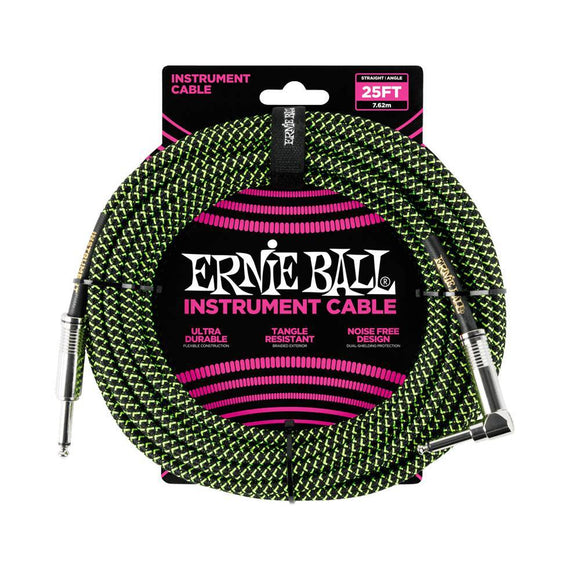 Ernie Ball black green braided cable 3m