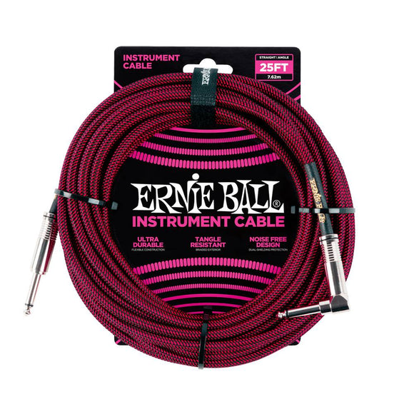 Ernie Ball black red braided cable 7m