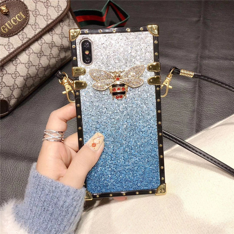 Luxury Fashion Gradient Glitter Bee Phone Case with Strap - Narce Cases