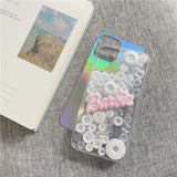 3D Colorful Buttons Soft Phone Case with Laser Card - Narce Cases
