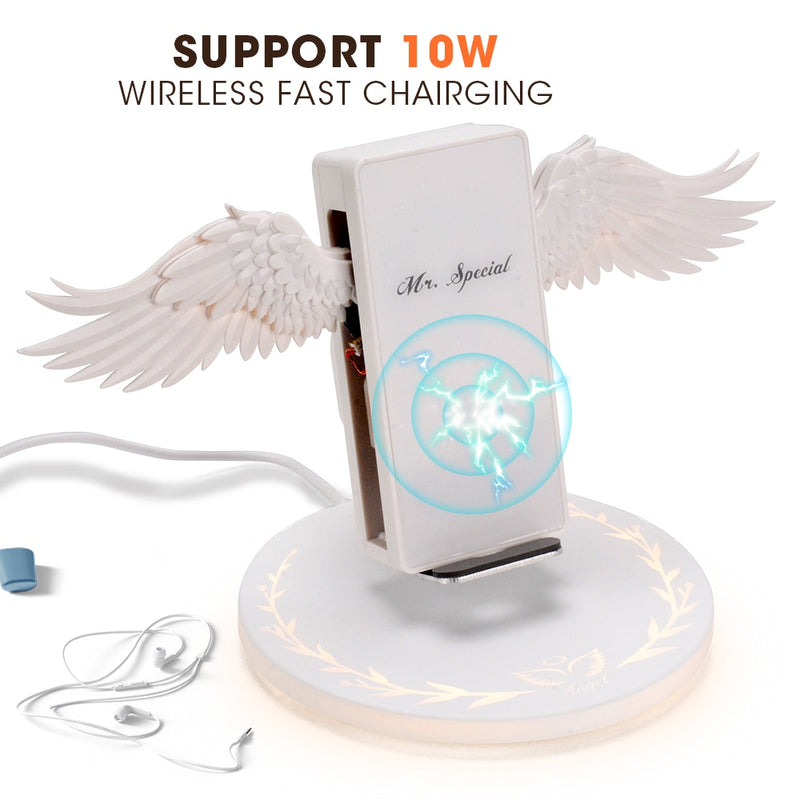White Angel Wings Wireless Fast Charging Stand - Narce Cases