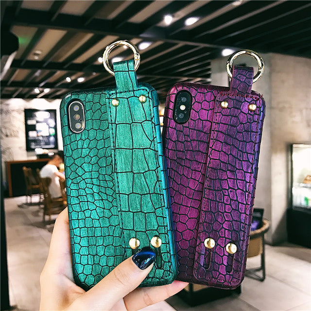 Luxury Plain Croc Leather Phone Case with Hand Strap Holder - Narce Cases