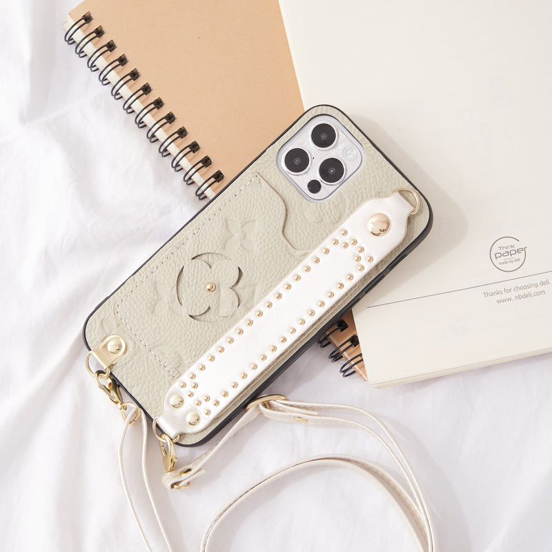 Luxury Monogram Insert Card Leather Phone Case with Hand Strap Holder & Body Crosschain - Narce Cases