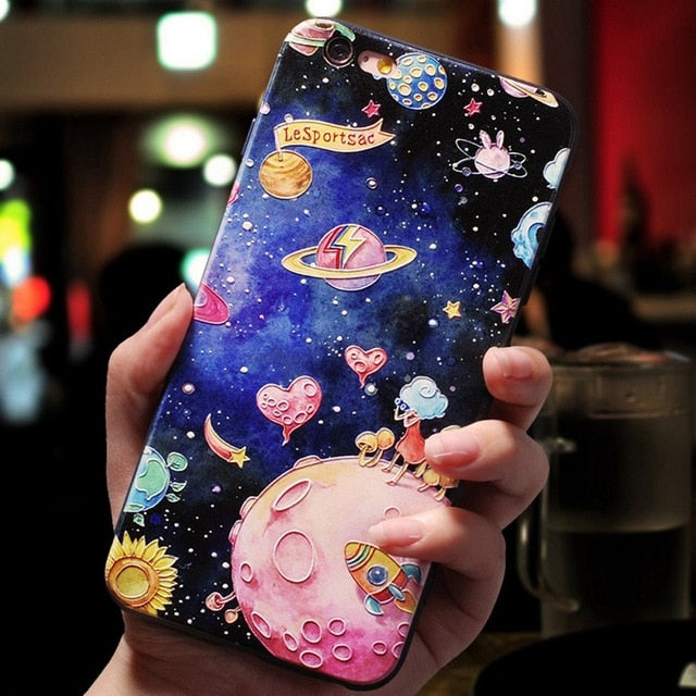 3D Cute Cartoon Paris London Space Cat Elephant Poppies Pattern Phone Case - Narce Cases