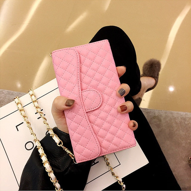 Luxury Sleek Leather Wallet Phone Case with Crossbody Chain