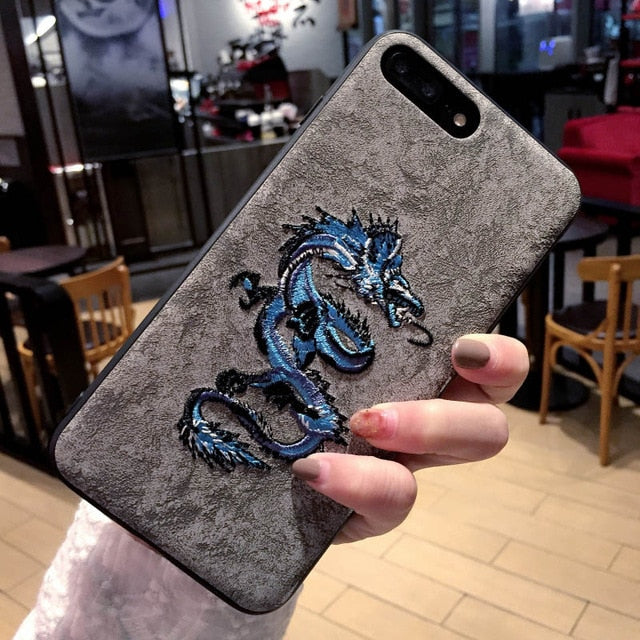 Embroidered Leather Flamingo Dragon Phoenix Deer Phone Case - Narce Cases