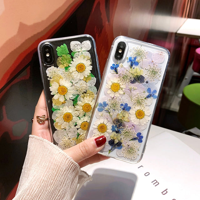 3D Real Dried Daisy Pressed Flowers Silicone Phone Case - Narce Cases